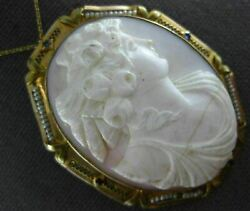Antique Large Pearl And Sapphire 14k Yellow Gold Shell Cameo Pin Pendant 19939