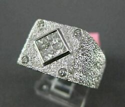Large .60ct Round And Princess Diamond 18kt White Gold Square Invisible Mens Ring