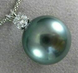 Estate Large .25ct Diamond And Aaa Tahitian Pearl 18kt White Gold Floating Pendant