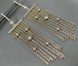 Estate Large .80ct Diamond 14kt Rose Gold By The Yard Multi Row Hanging Earrings