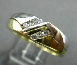 Estate .25ct Diamond 14kt Two Tone Gold Double Sided Gypsy Mens Ring 10288