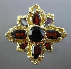 Antique Extra Large 6.0ct Aaa Garnet 14kt Yellow Gold 3d Flower Ring 25609