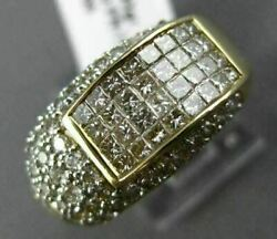 Wide 1.65ct Round And Princess Diamond 14kt Yellow Gold 3d 7 Stone Multi Row Ring