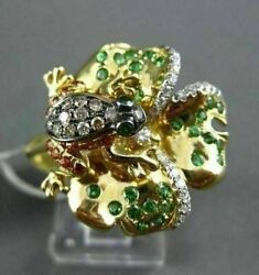 Antique 1.04ct Multi Diamonds And Aaa Gemstones 18k Yellow Gold Floating Frog Ring