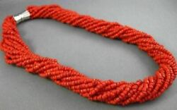 Antique Aaa Coral Stainless Steel 3d Multi Strand Beaded Bow Necklace 25872