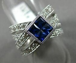 Estate Large 1.58ct Diamond And Sapphire 14kt White Gold 3d Criss Cross Love Ring