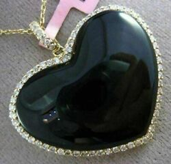 Estate Large .80ct Diamond And Onyx 14kt Yellow Gold 3d Heart Floating Pendant