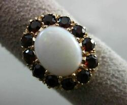 Antique Large 14kt Yellow Gold Garnet And Fiery Opal Oval Cluster Ring 18mm 18311