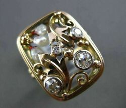 Antique Wide .40ct Old Mine Diamond And South Sea Pearl 14k 2 Tone Gold Ring 21823