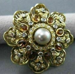 Antique 5.0ct Citrine And Diamond 18k White And Yellow Gold Flower Pin Pendant 1957