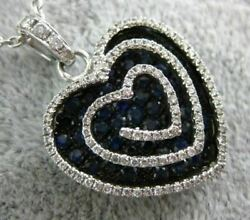 Large 1.69ct Diamond And Aaa Sapphire 18kt White And Black Gold Multi Heart Pendant