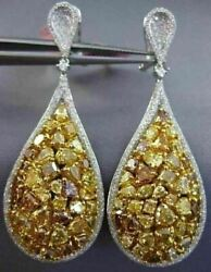 LARGE 11.85CT WHITE & FANCY YELLOW DIAMOND 18K 2 TONE GOLD PEAR HANGING EARRINGS