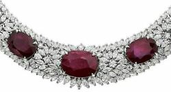 Estate Large 146.33ct Diamond And Aaa Ruby 18kt White Gold Oval Eternity Necklace