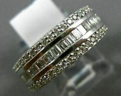Wide 1.36ct Round And Baguette Diamond 18kt White Gold Semi Eternity Wedding Ring