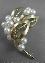 Estate Vintage Mikimoto 7mm Pearl 14kt Yellow Gold Rare Large Pin Brooch 2557