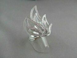 Antique Wide Filigree Flame Shape 3d 1.25ct Diamond 18kt White Gold Ring