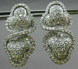 Estate Large 2.50ct Diamond 14k White Gold Double Hearted Infinity Halo Earrings