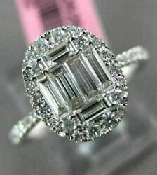 Estate Large .69ct Round And Baguette Diamond 18kt White Gold Oval Engagment Ring