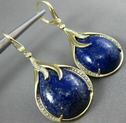 Estate Large .46ct Diamond And Agate 14k Yellow Gold 3d Tear Drop Hanging Earrings
