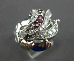 Antique .91ct Old Mine Diamond Ruby 14kt White Gold Filigree Cocktail Ring 20824