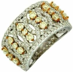 Estate Wide 2.04ct White And Fancy Yellow Diamond 14kt White Gold Anniversary Ring