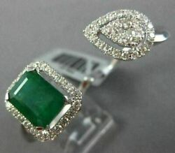 Large 2.90ct Diamond And Aaa Emerald 14kt White Gold 3d Cluster Double Finger Ring