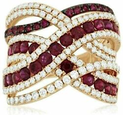Estate Wide 3.20ct Diamond And Aaa Ruby 14k Yellow Gold Multi Row Anniversary Ring
