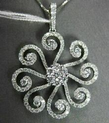 Antique 1.48ct Diamond 18k White Gold Floating Flower Chandelier Pendant And Chain