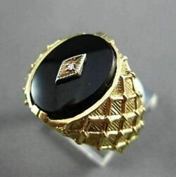 Antique Large .01ct Diamond And Aaa Onyx 14k White And Yellow Gold 3d Checkered Ring
