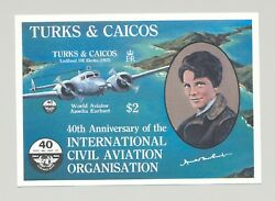 Turks And Caicos 660 Icao Amelia Earhart Aviation 1v S/s Imperf Proof
