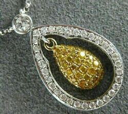 Estate .84ct White And Fancy Yellow Diamond 18kt Two Tone Gold Tear Drop Necklace