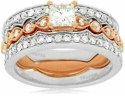 Estate Wide 1.15ct Round And Princess Diamond 14k Rose Gold 3d Engagement Ring Set