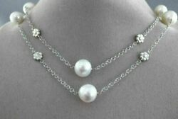 Estate Extra Long 14k White Gold Aaa South Sea Pearl Flower By The Yard Necklace