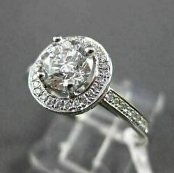 Estate .99ct Diamond 18k White Gold Halo 3d Solitaire Engagement Ring Amazing
