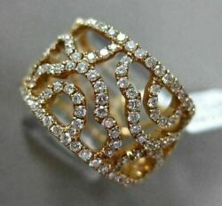 Estate Large And Wide .97ct Round Diamond 18kt Rose Gold 3d Open Filigree Fun Ring