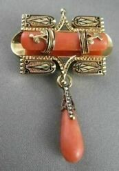 Antique .14ct Rose Cut Diamond 18kt Y Gold Coral And Black Enamel Pin Brooch 1892