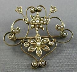 Antique Victorian 14k Yellow Gold Aaa Pearl Handcrafted Filigree Star Pin Brooch