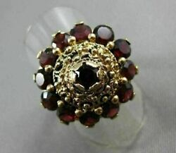 Antique Large 5ct Aaa Round Garnet 14k Yellow Gold Handcrafted Flower Ring 21926