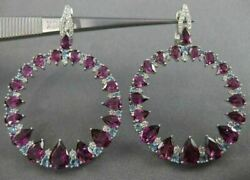 Large 10.57ct Diamond And Aaa Blue Topaz Amethyst 14kt White Gold Hanging Earrings