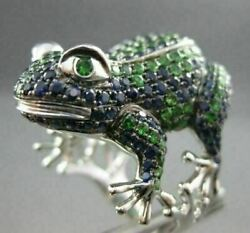 Estate Wide 4.47ctw Sapphire And Emerald 18kt White Gold Large Frog Fun Ring