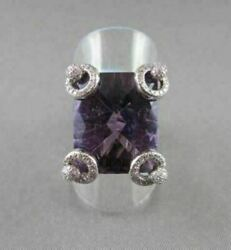 Antique Wide 17.52ctw Aaa Amethyst Emerald Cut And Diamond 18kt White Gold Ring
