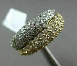 Estate Wide 2ct Diamond 14k White And Yellow Gold Multi Row Pave Double Love Ring