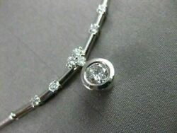 Estate .70ct Diamond 14kt W Gold Solitaire Drop Etoile By The Yard Necklace 201