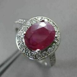 Antique 2.3ct Diamond And Ruby 14kt White Gold Halo Design Engagement Ring 19115