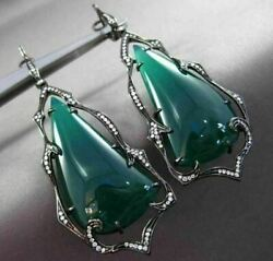 Antique Massive 36.20ct Diamond And Green Agate 14k Black Gold 3d Hanging Earrings