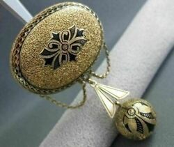 Antique Large 14kt Yellow Gold And Black Enamel From 1800and039s Pin One Of A Kind 1893