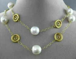 Estate Large And Long 14kt Yellow Gold South Sea Pearl By The Yard Circle Necklace