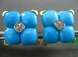 Estate Large .20ct Diamond And Aaa Turquoise 18kt Yellow Gold 3d Filigree Earrings