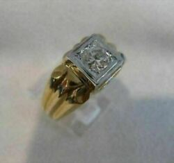 Antique 14k White Yellow Gold .60ct Old Mine Diamond Solitaire Mens Ring 519