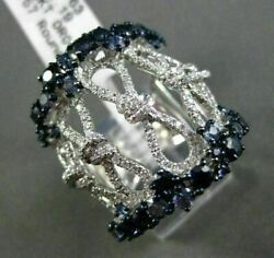 Estate Massive 2.82ct Diamond And Sapphire 18kt White Gold Infinity Cocktail Ring
